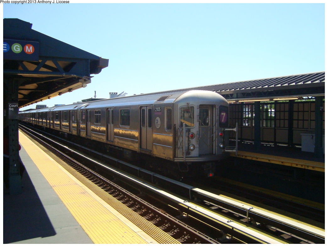 (324k, 1044x788)<br><b>Country:</b> United States<br><b>City:</b> New York<br><b>System:</b> New York City Transit<br><b>Line:</b> IRT Flushing Line<br><b>Location:</b> Court House Square/45th Road <br><b>Route:</b> 7<br><b>Car:</b> R-62A (Bombardier, 1984-1987)  2105 <br><b>Photo by:</b> Anthony J. Liccese<br><b>Date:</b> 6/4/2013<br><b>Viewed (this week/total):</b> 2 / 296