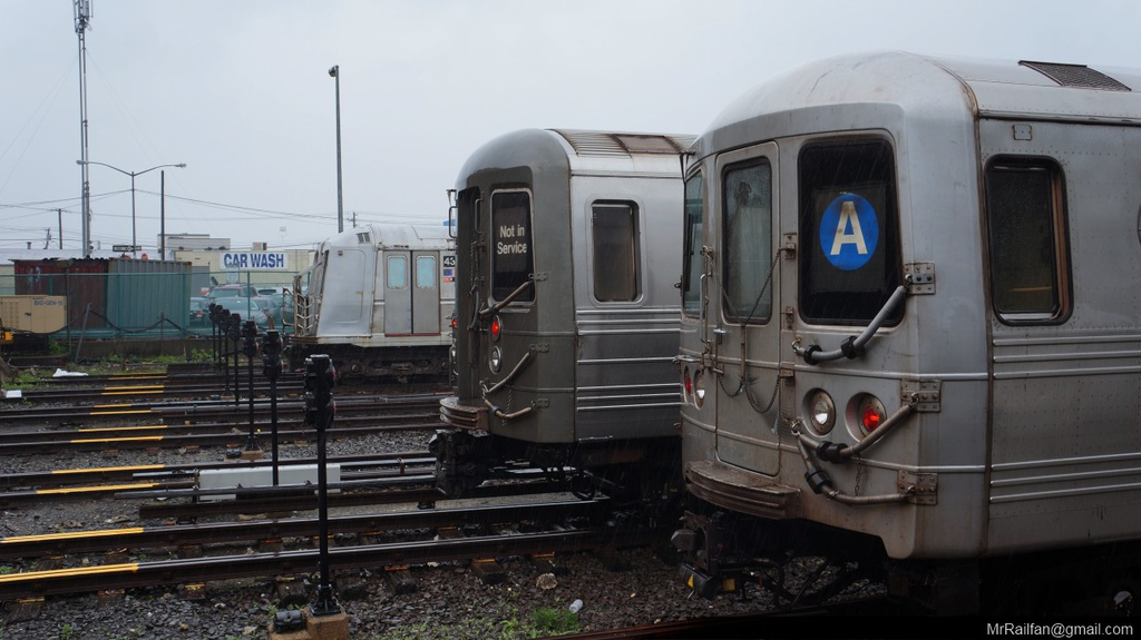 (188k, 1024x575)<br><b>Country:</b> United States<br><b>City:</b> New York<br><b>System:</b> New York City Transit<br><b>Location:</b> Rockaway Park Yard<br><b>Car:</b> R-68 (Westinghouse-Amrail, 1986-1988)   <br><b>Photo by:</b> Mr. Railfan <br><b>Date:</b> 6/13/2013<br><b>Notes:</b> With R46 shuttle and R40 school car<br><b>Viewed (this week/total):</b> 0 / 766