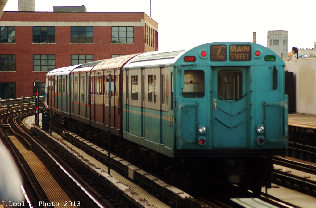 (263k, 1024x675)<br><b>Country:</b> United States<br><b>City:</b> New York<br><b>System:</b> New York City Transit<br><b>Line:</b> IRT Flushing Line<br><b>Location:</b> 33rd Street/Rawson Street <br><b>Route:</b> Museum Train Service<br><b>Car:</b> R-33 World's Fair (St. Louis, 1963-64) 9306 <br><b>Photo by:</b> John Dooley<br><b>Date:</b> 7/14/2013<br><b>Viewed (this week/total):</b> 1 / 359