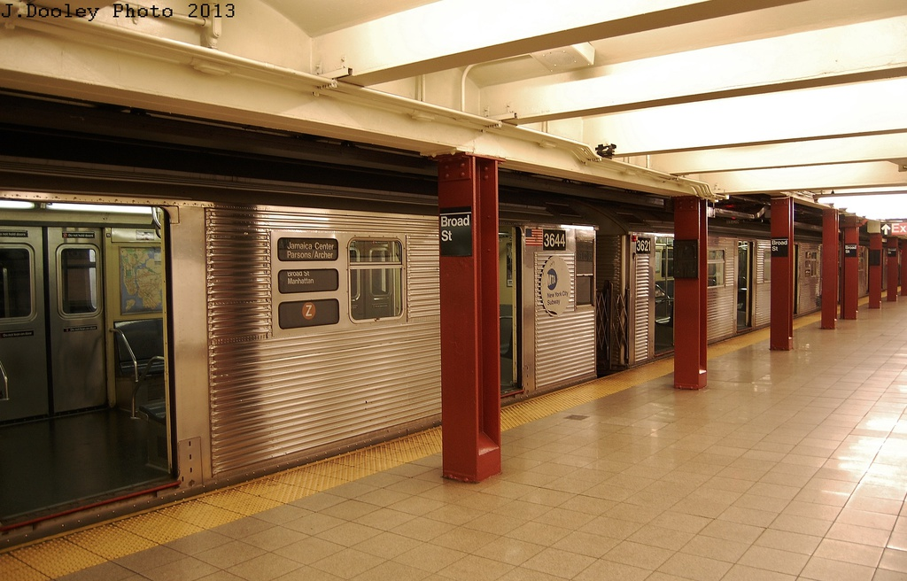 (299k, 1024x656)<br><b>Country:</b> United States<br><b>City:</b> New York<br><b>System:</b> New York City Transit<br><b>Line:</b> BMT Nassau Street/Jamaica Line<br><b>Location:</b> Broad Street <br><b>Route:</b> J<br><b>Car:</b> R-32 (Budd, 1964)  3644 <br><b>Photo by:</b> John Dooley<br><b>Date:</b> 6/26/2013<br><b>Viewed (this week/total):</b> 6 / 437
