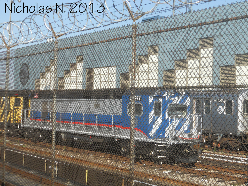 (618k, 1024x768)<br><b>Country:</b> United States<br><b>City:</b> New York<br><b>System:</b> New York City Transit<br><b>Location:</b> East 180th Street Yard<br><b>Car:</b> R-156 Diesel-Electric Locomotive (MPI, 2012-2013) 917 <br><b>Photo by:</b> Nicholas Noel<br><b>Date:</b> 6/2013<br><b>Viewed (this week/total):</b> 2 / 362