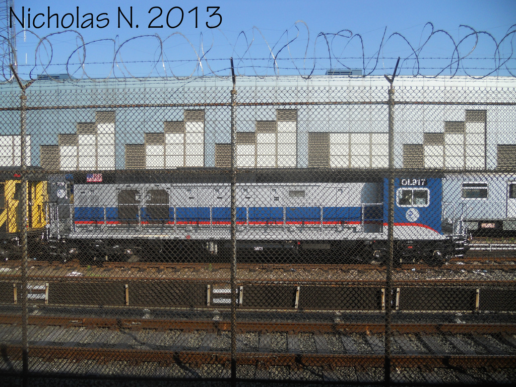 (576k, 1024x768)<br><b>Country:</b> United States<br><b>City:</b> New York<br><b>System:</b> New York City Transit<br><b>Location:</b> East 180th Street Yard<br><b>Car:</b> R-156 Diesel-Electric Locomotive (MPI, 2012-2013) 917 <br><b>Photo by:</b> Nicholas Noel<br><b>Date:</b> 6/2013<br><b>Viewed (this week/total):</b> 2 / 438