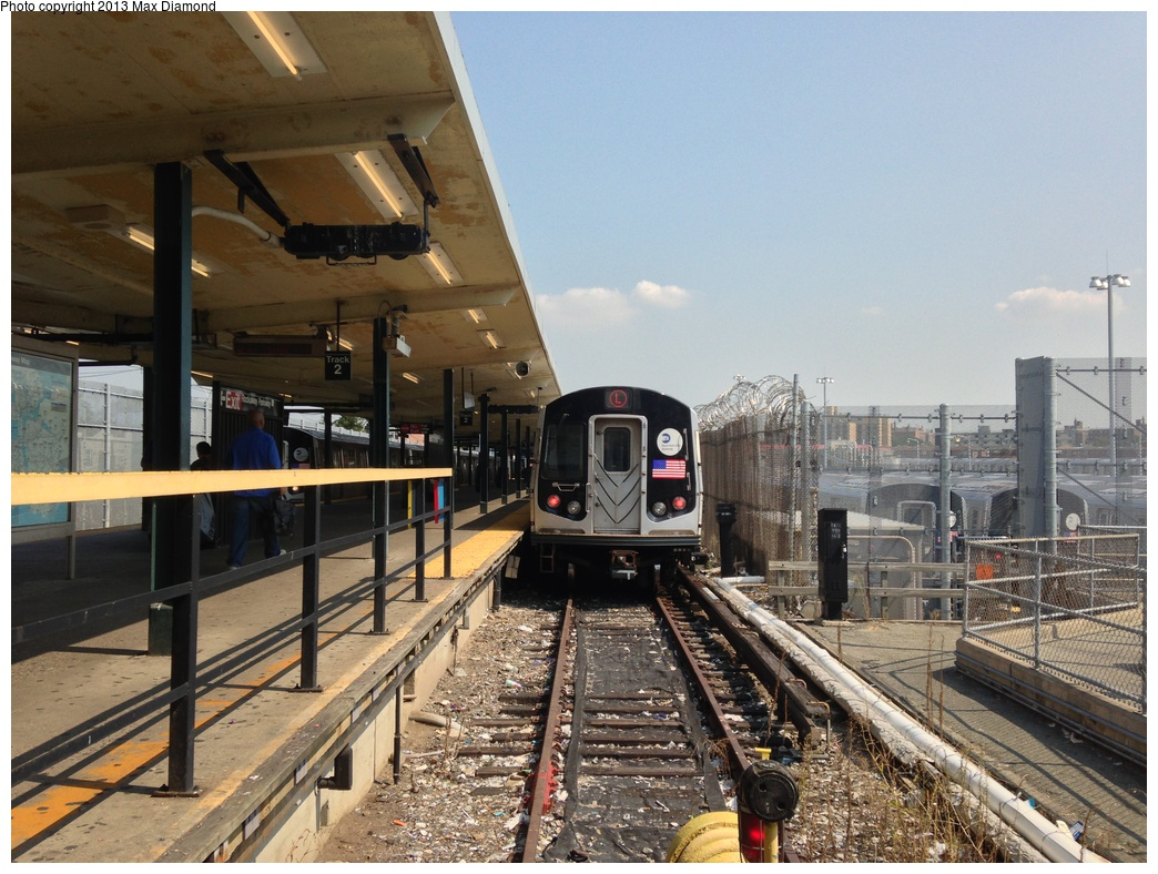 (336k, 1044x788)<br><b>Country:</b> United States<br><b>City:</b> New York<br><b>System:</b> New York City Transit<br><b>Line:</b> BMT Canarsie Line<br><b>Location:</b> Rockaway Parkway <br><b>Route:</b> L<br><b>Car:</b> R-143 (Kawasaki, 2001-2002)  <br><b>Photo by:</b> Max Diamond<br><b>Date:</b> 8/21/2013<br><b>Viewed (this week/total):</b> 2 / 692