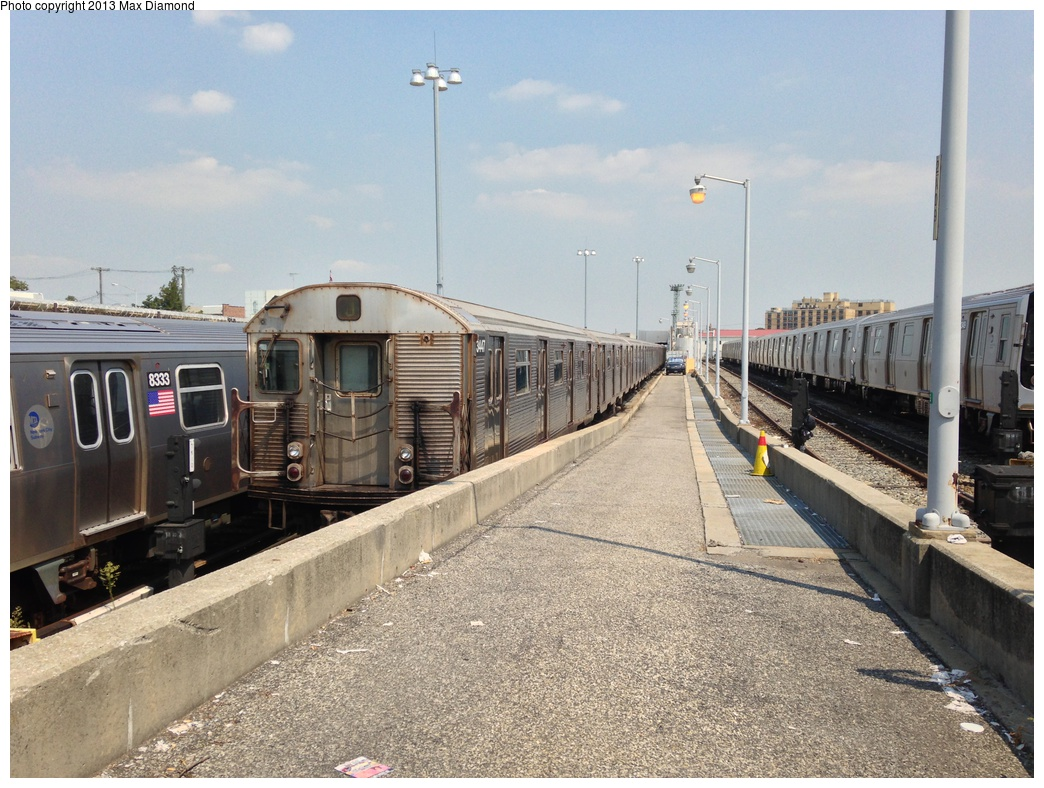 (335k, 1044x788)<br><b>Country:</b> United States<br><b>City:</b> New York<br><b>System:</b> New York City Transit<br><b>Location:</b> Rockaway Parkway (Canarsie) Yard<br><b>Car:</b> R-32 (Budd, 1964)  3447 <br><b>Photo by:</b> Max Diamond<br><b>Date:</b> 8/21/2013<br><b>Viewed (this week/total):</b> 1 / 412