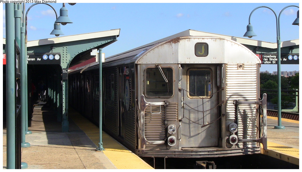 (274k, 1044x596)<br><b>Country:</b> United States<br><b>City:</b> New York<br><b>System:</b> New York City Transit<br><b>Line:</b> BMT Nassau Street/Jamaica Line<br><b>Location:</b> Broadway/East New York (Broadway Junction) <br><b>Route:</b> J<br><b>Car:</b> R-32 (Budd, 1964)  3864 <br><b>Photo by:</b> Max Diamond<br><b>Date:</b> 8/4/2013<br><b>Viewed (this week/total):</b> 3 / 417