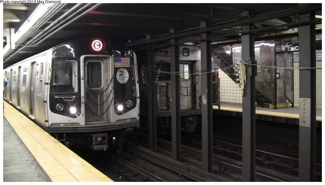 (251k, 1044x596)<br><b>Country:</b> United States<br><b>City:</b> New York<br><b>System:</b> New York City Transit<br><b>Line:</b> IND Fulton Street Line<br><b>Location:</b> Euclid Avenue <br><b>Route:</b> C<br><b>Car:</b> R-160A/R-160B Series (Number Unknown)  <br><b>Photo by:</b> Max Diamond<br><b>Date:</b> 8/7/2013<br><b>Viewed (this week/total):</b> 3 / 947
