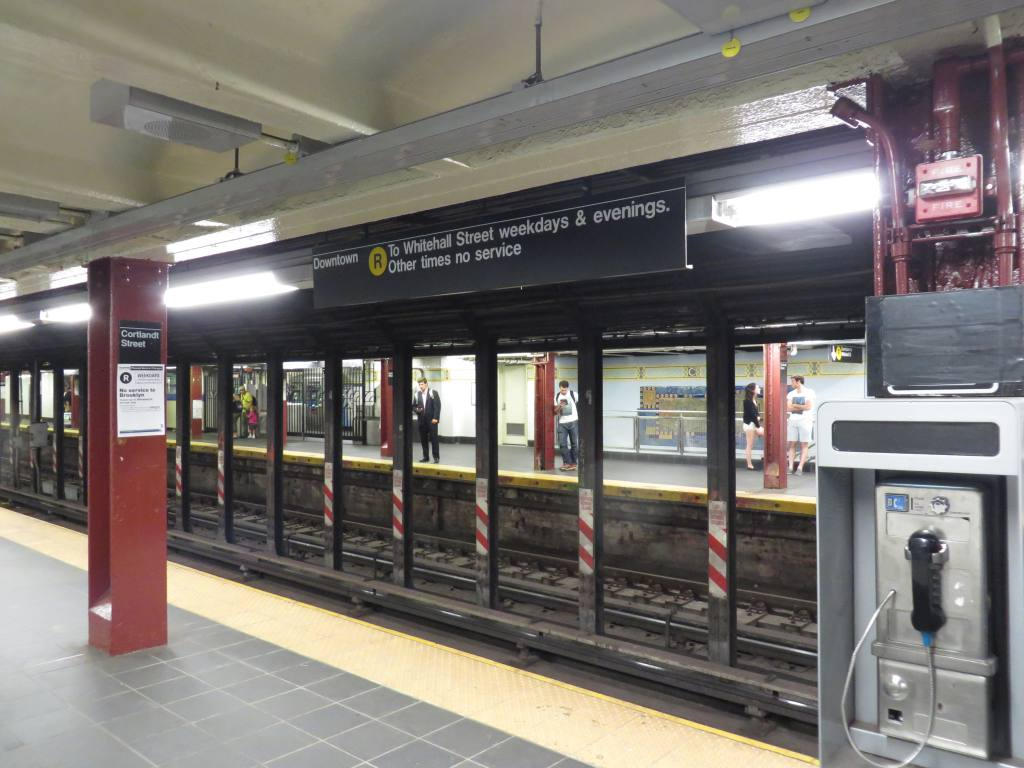 (116k, 1024x768)<br><b>Country:</b> United States<br><b>City:</b> New York<br><b>System:</b> New York City Transit<br><b>Line:</b> BMT Broadway Line<br><b>Location:</b> Cortlandt Street-World Trade Center <br><b>Photo by:</b> Robbie Rosenfeld<br><b>Date:</b> 8/5/2013<br><b>Viewed (this week/total):</b> 2 / 756