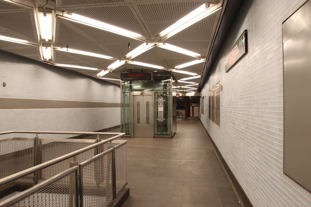 (110k, 1024x683)<br><b>Country:</b> United States<br><b>City:</b> New York<br><b>System:</b> New York City Transit<br><b>Line:</b> IND 8th Avenue Line<br><b>Location:</b> Fulton Street (Broadway/Nassau) <br><b>Photo by:</b> Robbie Rosenfeld<br><b>Date:</b> 8/4/2013<br><b>Notes:</b> New elevator<br><b>Viewed (this week/total):</b> 1 / 754