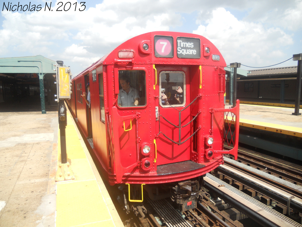 (366k, 1024x768)<br><b>Country:</b> United States<br><b>City:</b> New York<br><b>System:</b> New York City Transit<br><b>Line:</b> IRT Flushing Line<br><b>Location:</b> Willets Point/Mets (fmr. Shea Stadium) <br><b>Route:</b> Museum Train Service<br><b>Car:</b> R-33 Main Line (St. Louis, 1962-63) 9016 <br><b>Photo by:</b> Nicholas Noel<br><b>Date:</b> 7/14/2013<br><b>Viewed (this week/total):</b> 3 / 1224