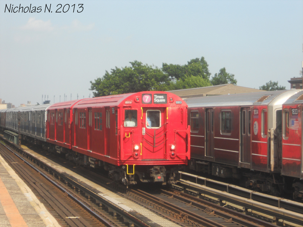 (293k, 1024x768)<br><b>Country:</b> United States<br><b>City:</b> New York<br><b>System:</b> New York City Transit<br><b>Line:</b> IRT Flushing Line<br><b>Location:</b> 103rd Street/Corona Plaza <br><b>Route:</b> Museum Train Service<br><b>Car:</b> R-33 Main Line (St. Louis, 1962-63) 9016 <br><b>Photo by:</b> Nicholas Noel<br><b>Date:</b> 7/14/2013<br><b>Viewed (this week/total):</b> 4 / 632