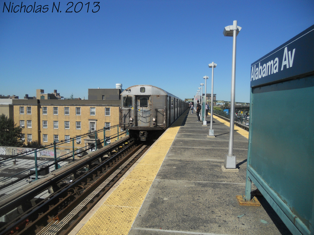 (382k, 1024x768)<br><b>Country:</b> United States<br><b>City:</b> New York<br><b>System:</b> New York City Transit<br><b>Line:</b> BMT Nassau Street/Jamaica Line<br><b>Location:</b> Alabama Avenue <br><b>Route:</b> J<br><b>Car:</b> R-32 (Budd, 1964)   <br><b>Photo by:</b> Nicholas Noel<br><b>Date:</b> 8/2013<br><b>Viewed (this week/total):</b> 5 / 663