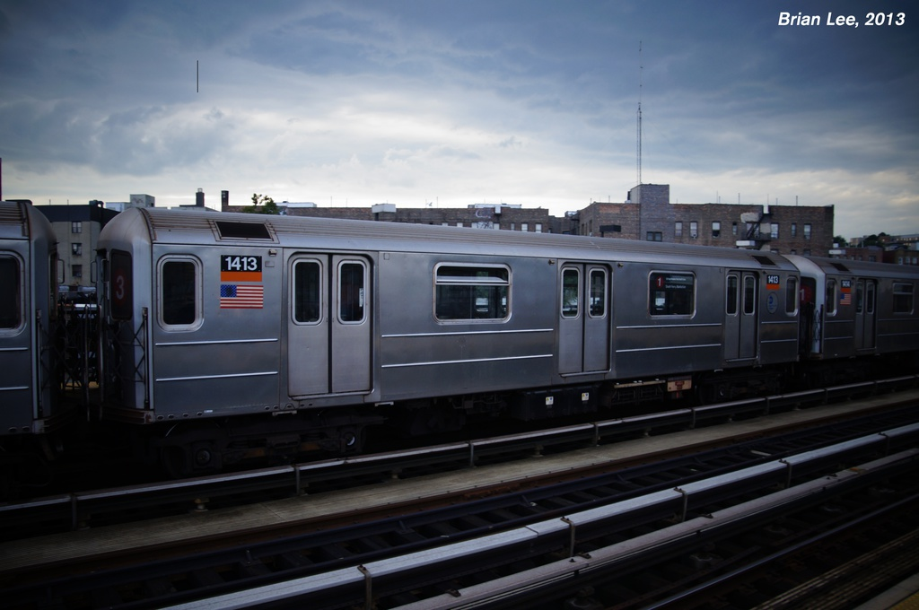 (211k, 1024x680)<br><b>Country:</b> United States<br><b>City:</b> New York<br><b>System:</b> New York City Transit<br><b>Line:</b> IRT West Side Line<br><b>Location:</b> 207th Street <br><b>Route:</b> 1<br><b>Car:</b> R-62 (Kawasaki, 1983-1985)  1413 <br><b>Photo by:</b> Brian Lee<br><b>Date:</b> 8/3/2013<br><b>Viewed (this week/total):</b> 2 / 223