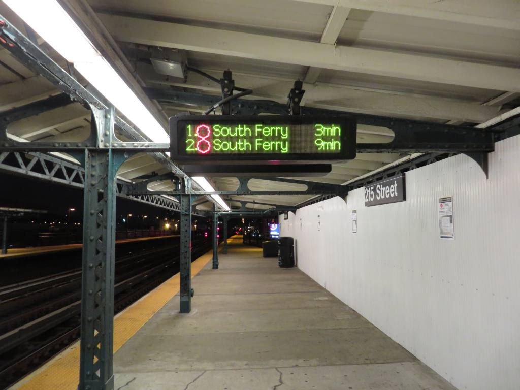 (94k, 1024x768)<br><b>Country:</b> United States<br><b>City:</b> New York<br><b>System:</b> New York City Transit<br><b>Line:</b> IRT West Side Line<br><b>Location:</b> 215th Street <br><b>Photo by:</b> Robbie Rosenfeld<br><b>Date:</b> 10/3/2013<br><b>Notes:</b> Note new font on countdown clock<br><b>Viewed (this week/total):</b> 0 / 1030