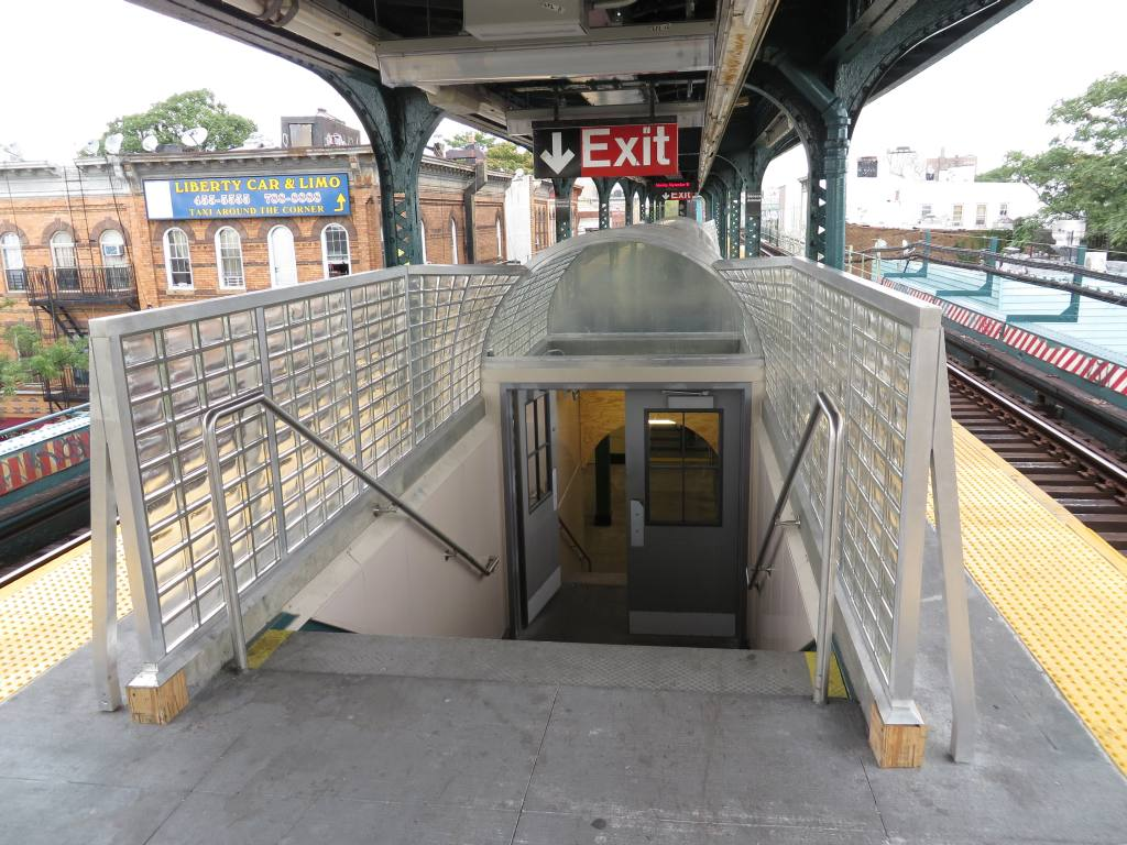 (152k, 1024x768)<br><b>Country:</b> United States<br><b>City:</b> New York<br><b>System:</b> New York City Transit<br><b>Line:</b> BMT Myrtle Avenue Line<br><b>Location:</b> Seneca Avenue <br><b>Photo by:</b> Robbie Rosenfeld<br><b>Date:</b> 9/16/2013<br><b>Notes:</b> Station renovation<br><b>Viewed (this week/total):</b> 0 / 628