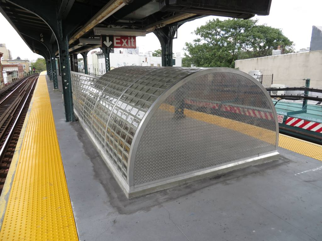 (139k, 1024x768)<br><b>Country:</b> United States<br><b>City:</b> New York<br><b>System:</b> New York City Transit<br><b>Line:</b> BMT Myrtle Avenue Line<br><b>Location:</b> Seneca Avenue <br><b>Photo by:</b> Robbie Rosenfeld<br><b>Date:</b> 9/16/2013<br><b>Notes:</b> Station renovation<br><b>Viewed (this week/total):</b> 0 / 607