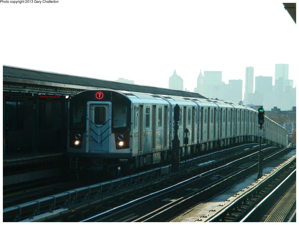 (249k, 1044x788)<br><b>Country:</b> United States<br><b>City:</b> New York<br><b>System:</b> New York City Transit<br><b>Line:</b> IRT Flushing Line<br><b>Location:</b> 52nd Street/Lincoln Avenue <br><b>Route:</b> 7<br><b>Car:</b> R-188 (Kawasaki, 2012-) 7821 <br><b>Photo by:</b> Gary Chatterton<br><b>Date:</b> 11/20/2013<br><b>Viewed (this week/total):</b> 6 / 573