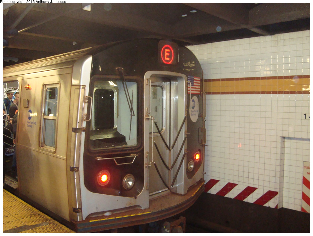(316k, 1044x788)<br><b>Country:</b> United States<br><b>City:</b> New York<br><b>System:</b> New York City Transit<br><b>Line:</b> IND 8th Avenue Line<br><b>Location:</b> 14th Street <br><b>Route:</b> E<br><b>Car:</b> R-160A/R-160B Series (Number Unknown)  <br><b>Photo by:</b> Anthony J. Liccese<br><b>Date:</b> 8/15/2013<br><b>Viewed (this week/total):</b> 0 / 775