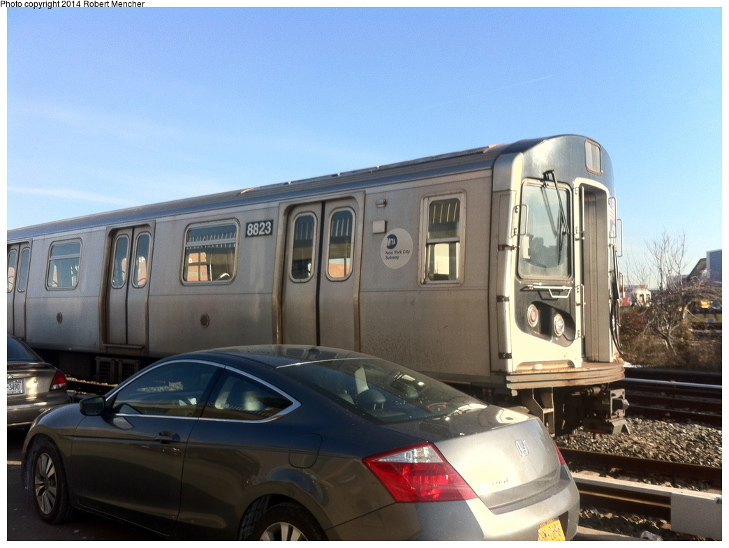 (271k, 1044x785)<br><b>Country:</b> United States<br><b>City:</b> New York<br><b>System:</b> New York City Transit<br><b>Location:</b> Coney Island Yard<br><b>Car:</b> R-160B (Kawasaki, 2005-2008)  8823 <br><b>Photo by:</b> Robert Mencher<br><b>Date:</b> 1/8/2014<br><b>Viewed (this week/total):</b> 1 / 163