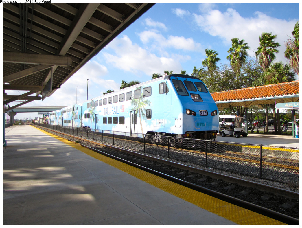 (422k, 1044x788)<br><b>Country:</b> United States<br><b>City:</b> Miami, FL<br><b>System:</b> Miami Tri-Rail<br><b>Location:</b> Fort Lauderdale (Amtrak) <br><b>Car:</b>  517 <br><b>Photo by:</b> Bob Vogel<br><b>Date:</b> 2/19/2013<br><b>Viewed (this week/total):</b> 8 / 555