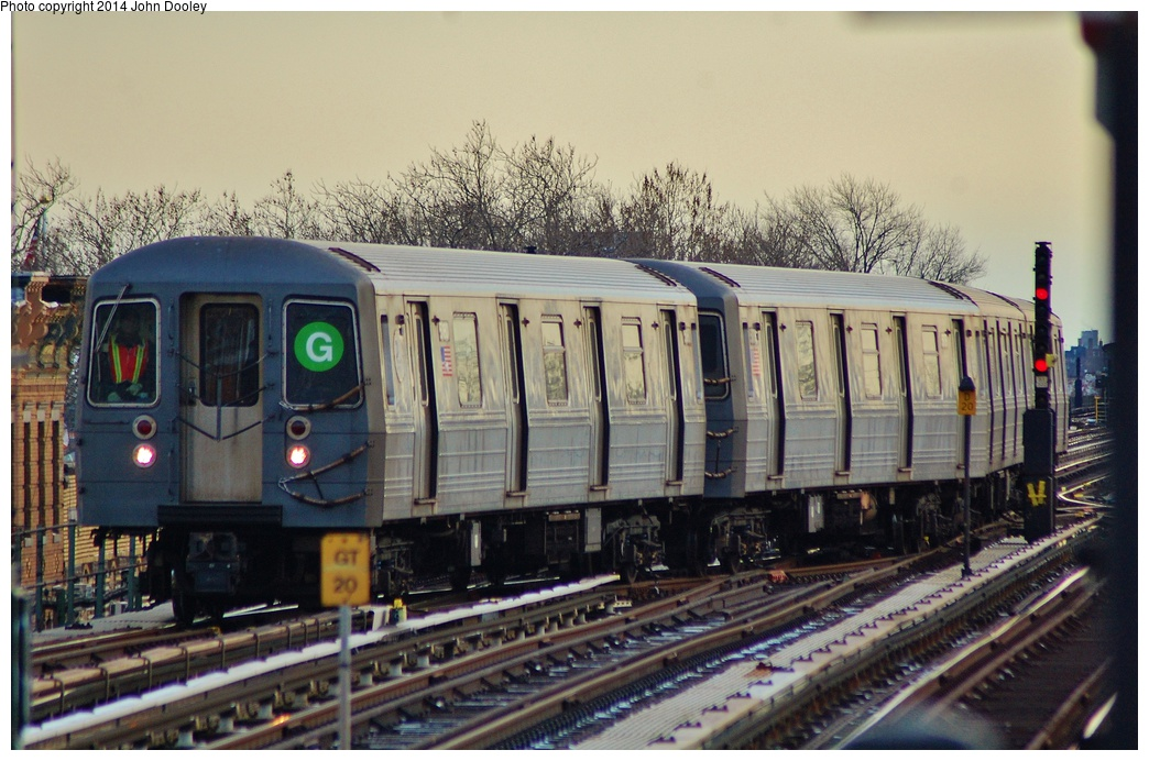 (339k, 1044x692)<br><b>Country:</b> United States<br><b>City:</b> New York<br><b>System:</b> New York City Transit<br><b>Line:</b> BMT Culver Line<br><b>Location:</b> Ditmas Avenue <br><b>Route:</b> G<br><b>Car:</b> R-68/R-68A Series (Number Unknown)  <br><b>Photo by:</b> John Dooley<br><b>Date:</b> 1/26/2014<br><b>Viewed (this week/total):</b> 8 / 724