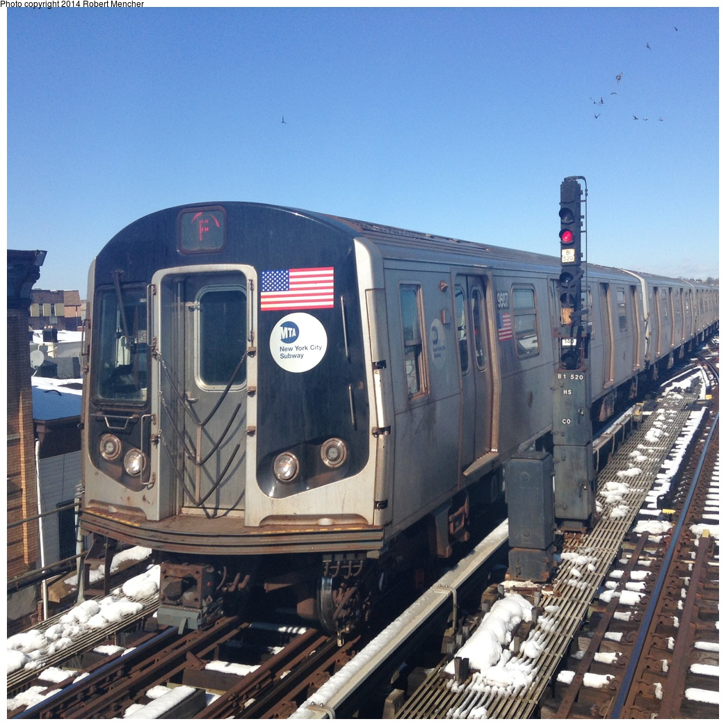(408k, 1044x1044)<br><b>Country:</b> United States<br><b>City:</b> New York<br><b>System:</b> New York City Transit<br><b>Line:</b> BMT Culver Line<br><b>Location:</b> Ditmas Avenue <br><b>Route:</b> F<br><b>Car:</b> R-160A (Option 2) (Alstom, 2009, 5-car sets)  9607 <br><b>Photo by:</b> Robert Mencher<br><b>Date:</b> 2/14/2014<br><b>Viewed (this week/total):</b> 1 / 903