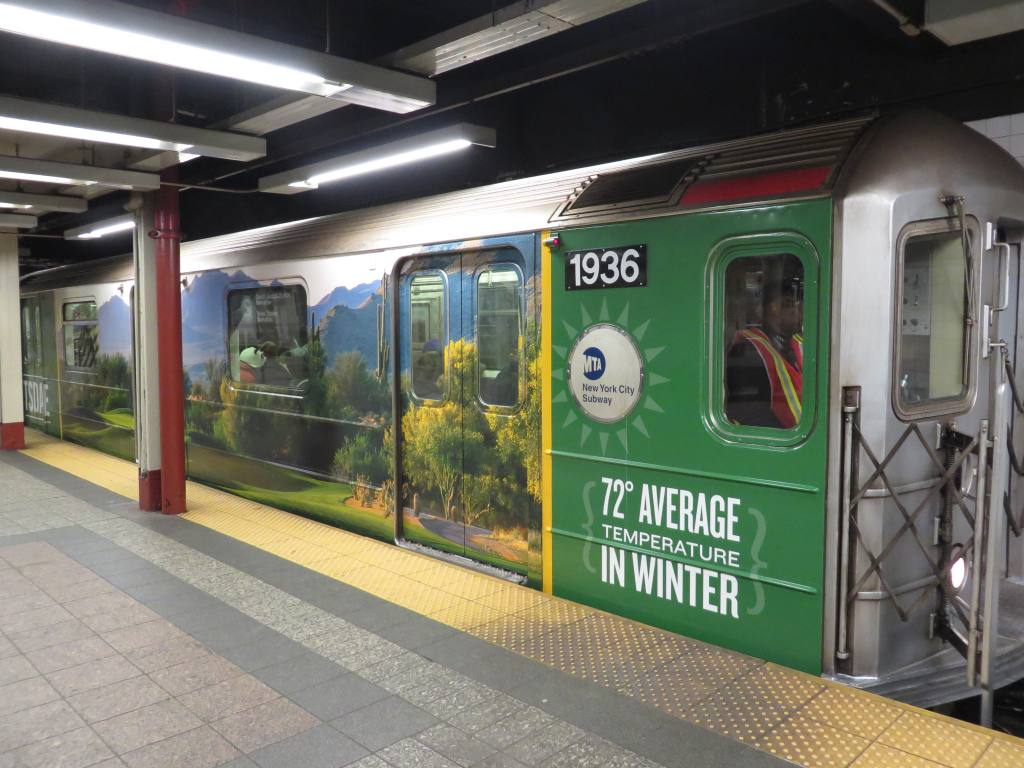 (123k, 1024x768)<br><b>Country:</b> United States<br><b>City:</b> New York<br><b>System:</b> New York City Transit<br><b>Line:</b> IRT Times Square-Grand Central Shuttle<br><b>Location:</b> Grand Central <br><b>Route:</b> S<br><b>Car:</b> R-62A (Bombardier, 1984-1987)  1936 <br><b>Photo by:</b> Robbie Rosenfeld<br><b>Date:</b> 2/12/2014<br><b>Notes:</b> Scottsdale AZ wrap<br><b>Viewed (this week/total):</b> 8 / 510