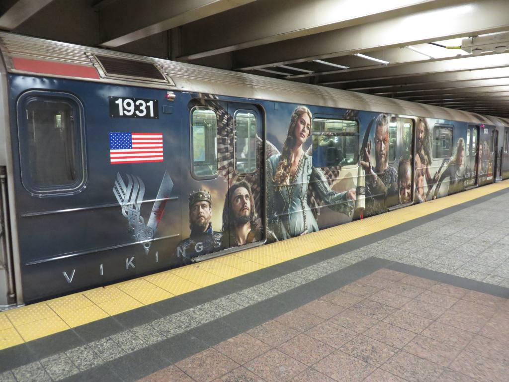 (132k, 1024x768)<br><b>Country:</b> United States<br><b>City:</b> New York<br><b>System:</b> New York City Transit<br><b>Line:</b> IRT Times Square-Grand Central Shuttle<br><b>Location:</b> Grand Central <br><b>Route:</b> S<br><b>Car:</b> R-62A (Bombardier, 1984-1987)  1931 <br><b>Photo by:</b> Robbie Rosenfeld<br><b>Date:</b> 2/19/2014<br><b>Notes:</b> Vikings tv show wrap<br><b>Viewed (this week/total):</b> 1 / 944