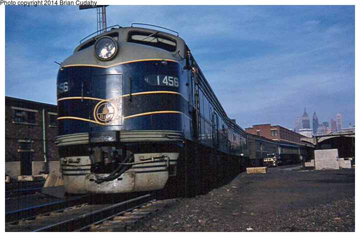 (173k, 720x474)<br><b>Country:</b> United States<br><b>System:</b> CRRNJ <br><b>Photo by:</b> Brian J. Cudahy<br><b>Notes:</b> B&O passenger train at CNJ Terminal, Jersey City ... 1958<br><b>Viewed (this week/total):</b> 7 / 1154