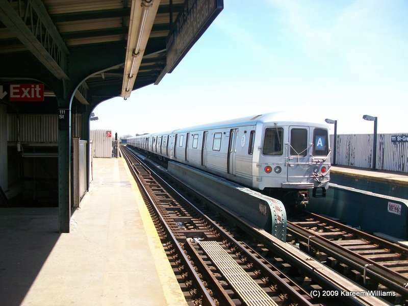 (111k, 800x600)<br><b>Country:</b> United States<br><b>City:</b> New York<br><b>System:</b> New York City Transit<br><b>Line:</b> IND Fulton Street Line<br><b>Location:</b> 111th Street/Greenwood Avenue <br><b>Route:</b> A<br><b>Car:</b> R-46 (Pullman-Standard, 1974-75) 6152 <br><b>Photo by:</b> Kareem Williams<br><b>Date:</b> 4/13/2009<br><b>Viewed (this week/total):</b> 6 / 709
