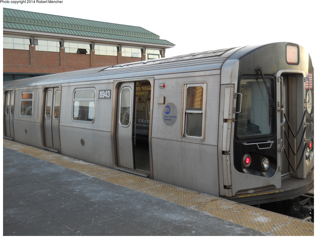 (317k, 1044x788)<br><b>Country:</b> United States<br><b>City:</b> New York<br><b>System:</b> New York City Transit<br><b>Location:</b> Coney Island/Stillwell Avenue<br><b>Route:</b> N<br><b>Car:</b> R-160B (Kawasaki, 2005-2008)  8943 <br><b>Photo by:</b> Robert Mencher<br><b>Date:</b> 3/9/2014<br><b>Viewed (this week/total):</b> 5 / 269