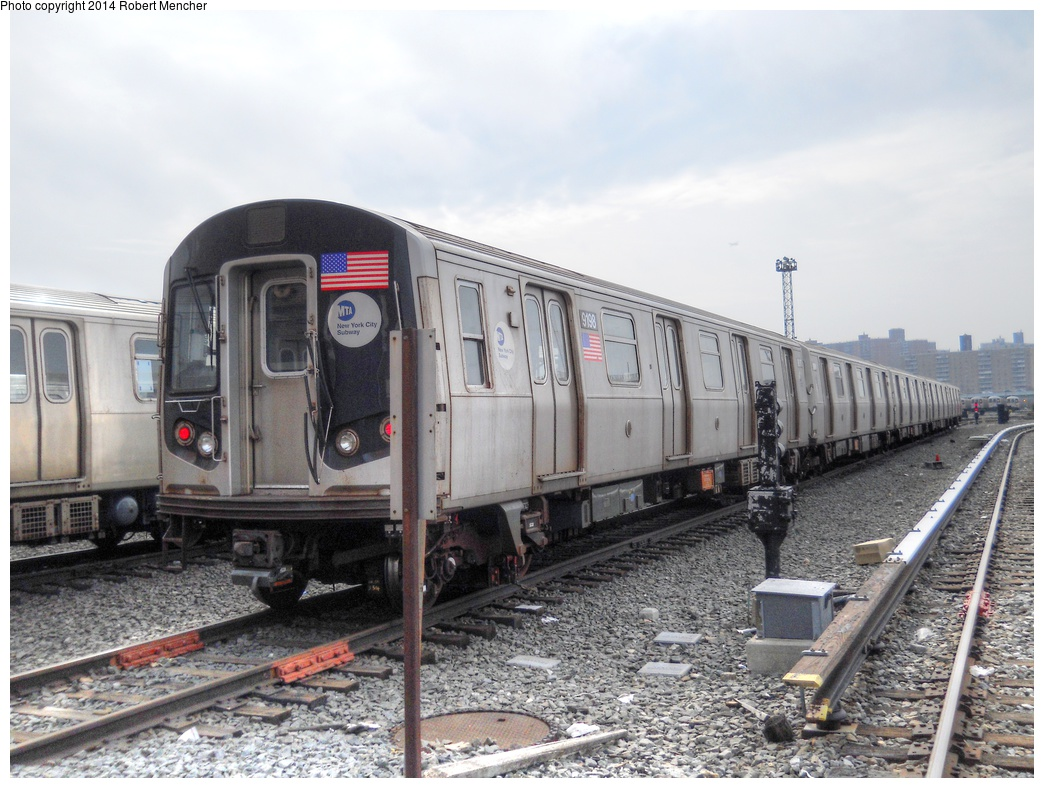 (304k, 1044x788)<br><b>Country:</b> United States<br><b>City:</b> New York<br><b>System:</b> New York City Transit<br><b>Location:</b> Coney Island Yard<br><b>Car:</b> R-160B (Option 1) (Kawasaki, 2008-2009)  9198 <br><b>Photo by:</b> Robert Mencher<br><b>Date:</b> 3/12/2014<br><b>Viewed (this week/total):</b> 3 / 234