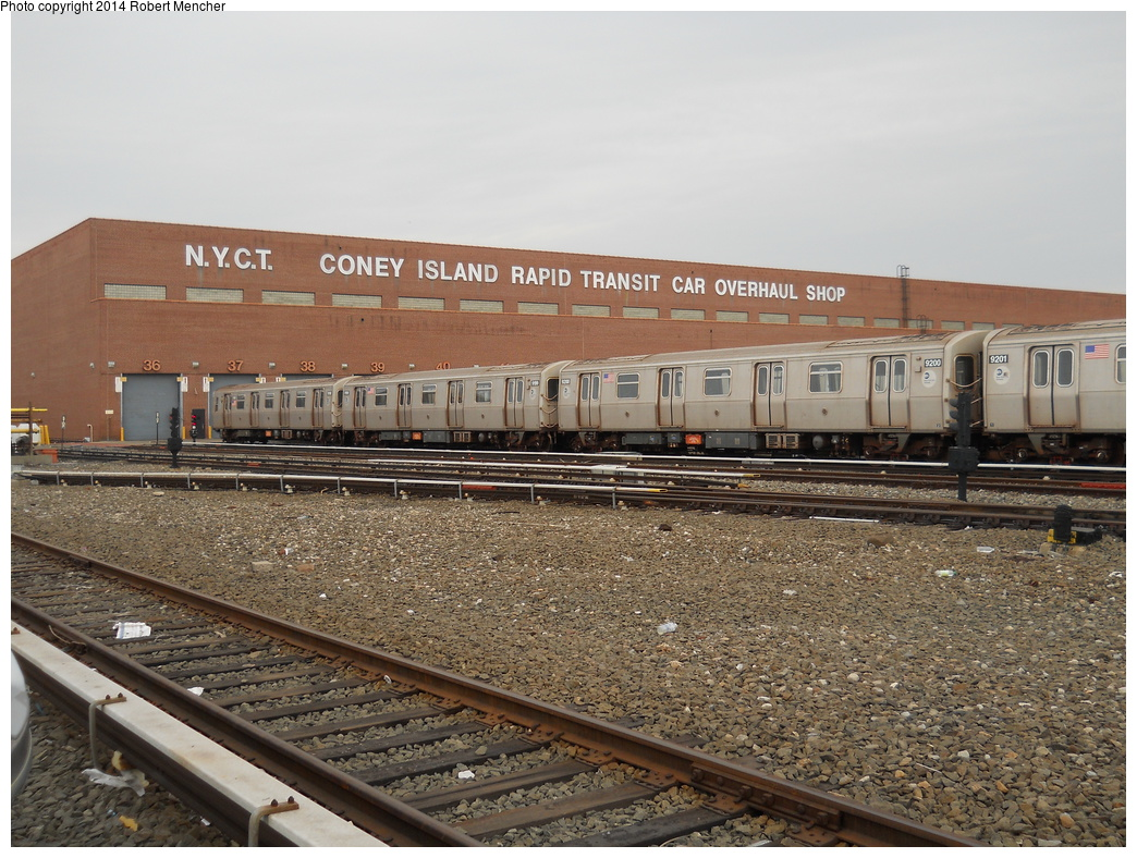 (417k, 1044x788)<br><b>Country:</b> United States<br><b>City:</b> New York<br><b>System:</b> New York City Transit<br><b>Location:</b> Coney Island Yard<br><b>Car:</b> R-160B (Option 1) (Kawasaki, 2008-2009)  9200 <br><b>Photo by:</b> Robert Mencher<br><b>Date:</b> 3/12/2014<br><b>Viewed (this week/total):</b> 2 / 298