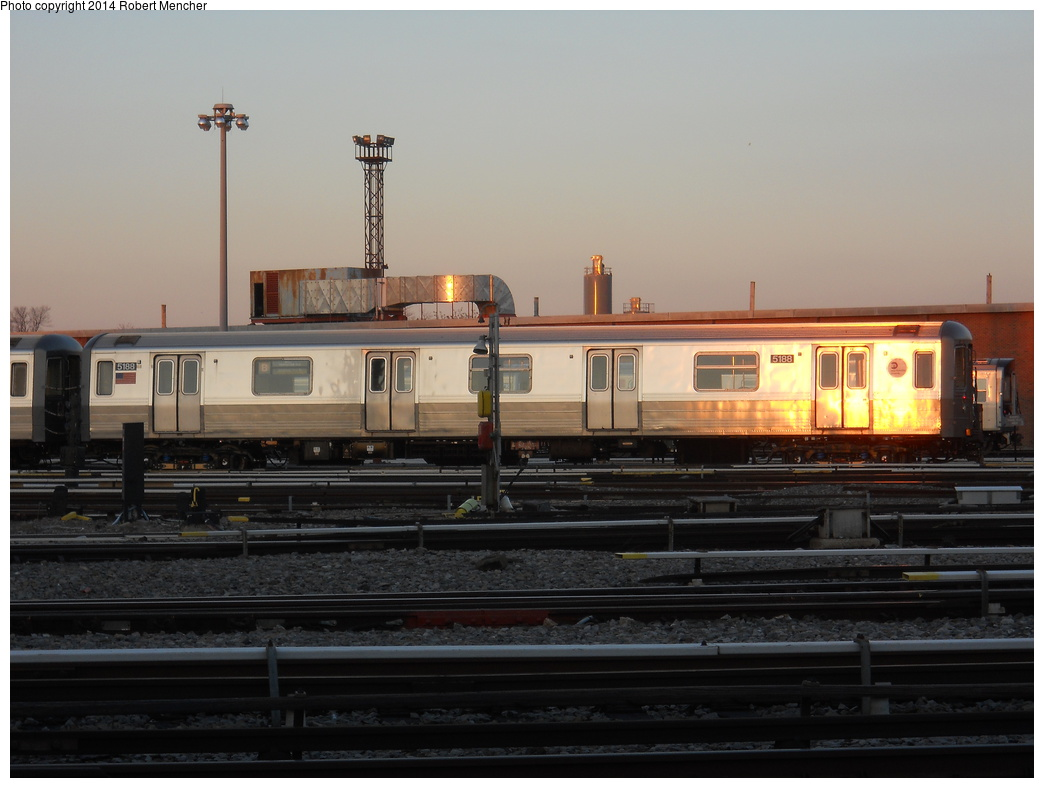(288k, 1044x788)<br><b>Country:</b> United States<br><b>City:</b> New York<br><b>System:</b> New York City Transit<br><b>Location:</b> Coney Island Yard<br><b>Car:</b> R-68A (Kawasaki, 1988-1989)  5188 <br><b>Photo by:</b> Robert Mencher<br><b>Date:</b> 3/21/2014<br><b>Viewed (this week/total):</b> 4 / 206