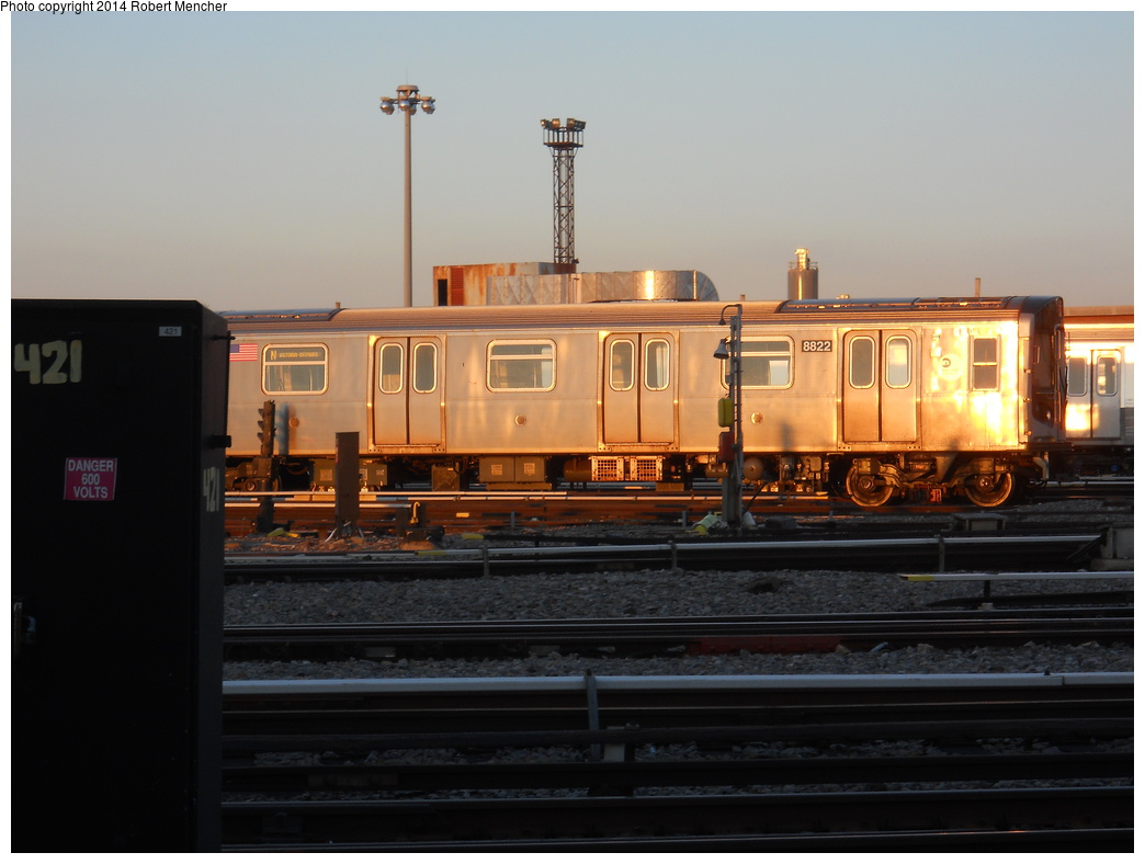 (281k, 1044x788)<br><b>Country:</b> United States<br><b>City:</b> New York<br><b>System:</b> New York City Transit<br><b>Location:</b> Coney Island Yard<br><b>Car:</b> R-160B (Kawasaki, 2005-2008)  8822 <br><b>Photo by:</b> Robert Mencher<br><b>Date:</b> 3/21/2014<br><b>Viewed (this week/total):</b> 0 / 468