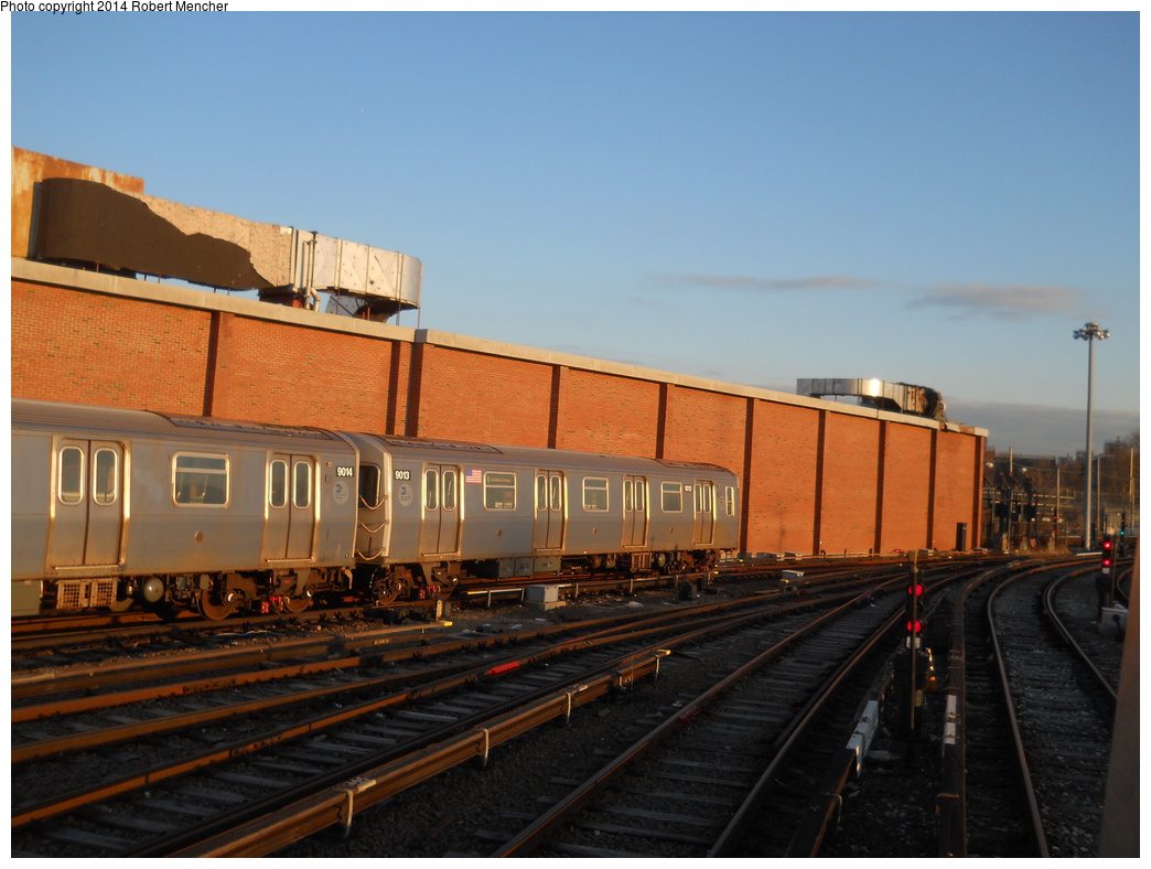(333k, 1044x788)<br><b>Country:</b> United States<br><b>City:</b> New York<br><b>System:</b> New York City Transit<br><b>Location:</b> Coney Island Yard<br><b>Car:</b> R-160B (Option 1) (Kawasaki, 2008-2009)  9013 <br><b>Photo by:</b> Robert Mencher<br><b>Date:</b> 3/21/2014<br><b>Viewed (this week/total):</b> 0 / 187