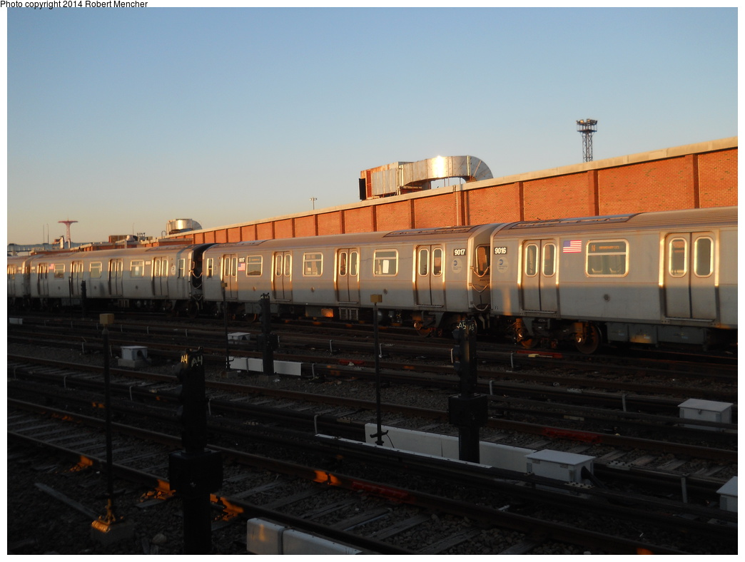 (283k, 1044x788)<br><b>Country:</b> United States<br><b>City:</b> New York<br><b>System:</b> New York City Transit<br><b>Location:</b> Coney Island Yard<br><b>Car:</b> R-160B (Option 1) (Kawasaki, 2008-2009)  9017 <br><b>Photo by:</b> Robert Mencher<br><b>Date:</b> 3/21/2014<br><b>Viewed (this week/total):</b> 2 / 275
