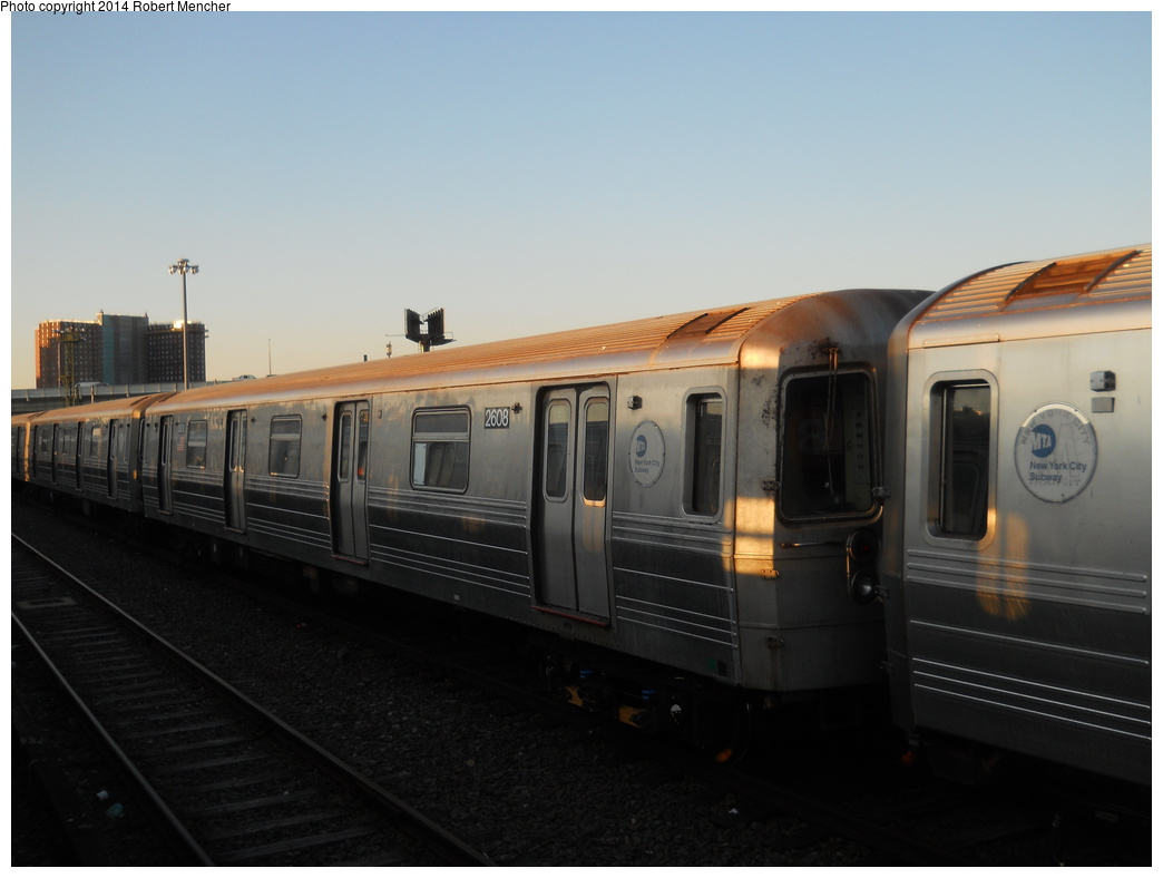 (249k, 1044x788)<br><b>Country:</b> United States<br><b>City:</b> New York<br><b>System:</b> New York City Transit<br><b>Location:</b> Coney Island Yard<br><b>Car:</b> R-68 (Westinghouse-Amrail, 1986-1988)  2608 <br><b>Photo by:</b> Robert Mencher<br><b>Date:</b> 3/21/2014<br><b>Viewed (this week/total):</b> 4 / 328