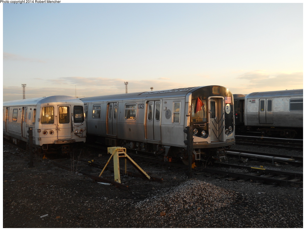 (315k, 1044x788)<br><b>Country:</b> United States<br><b>City:</b> New York<br><b>System:</b> New York City Transit<br><b>Location:</b> Coney Island Yard<br><b>Car:</b> R-160B (Kawasaki, 2005-2008)  8742 <br><b>Photo by:</b> Robert Mencher<br><b>Date:</b> 3/21/2014<br><b>Viewed (this week/total):</b> 2 / 403