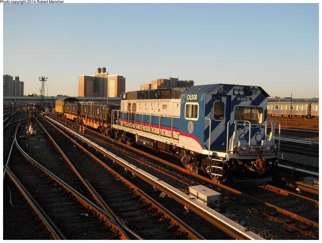 (384k, 1044x788)<br><b>Country:</b> United States<br><b>City:</b> New York<br><b>System:</b> New York City Transit<br><b>Location:</b> Coney Island Yard<br><b>Car:</b> R-156 Diesel-Electric Locomotive (MPI, 2012-2013) 930 <br><b>Photo by:</b> Robert Mencher<br><b>Date:</b> 3/21/2014<br><b>Viewed (this week/total):</b> 2 / 436
