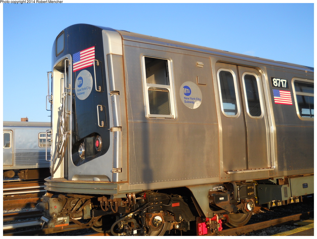 (361k, 1044x788)<br><b>Country:</b> United States<br><b>City:</b> New York<br><b>System:</b> New York City Transit<br><b>Location:</b> Coney Island Yard<br><b>Car:</b> R-160B (Kawasaki, 2005-2008)  8717 <br><b>Photo by:</b> Robert Mencher<br><b>Date:</b> 3/21/2014<br><b>Viewed (this week/total):</b> 3 / 241