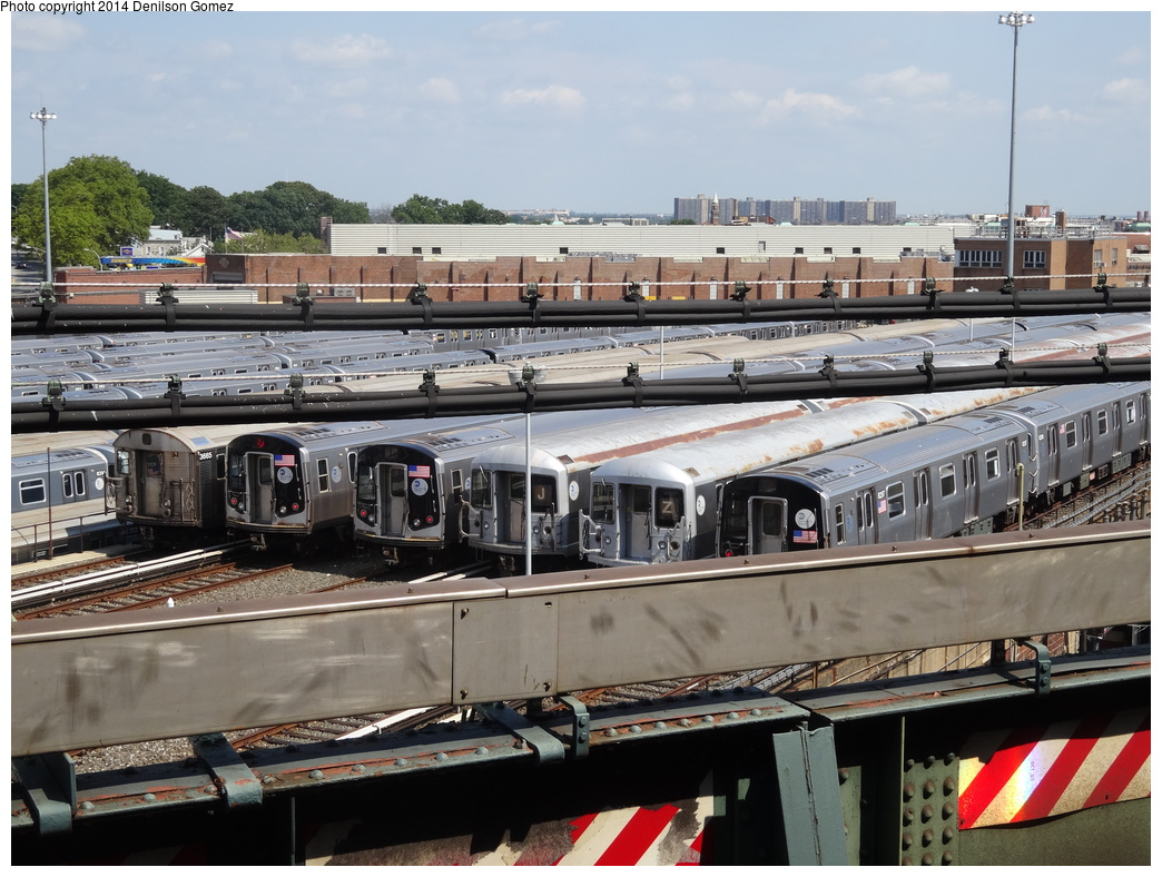 (377k, 1044x788)<br><b>Country:</b> United States<br><b>City:</b> New York<br><b>System:</b> New York City Transit<br><b>Location:</b> East New York Yard/Shops<br><b>Photo by:</b> Denilson Gomez<br><b>Date:</b> 8/27/2013<br><b>Notes:</b> R32s, R42s, R143s and R160As at East New York Yard<br><b>Viewed (this week/total):</b> 1 / 352