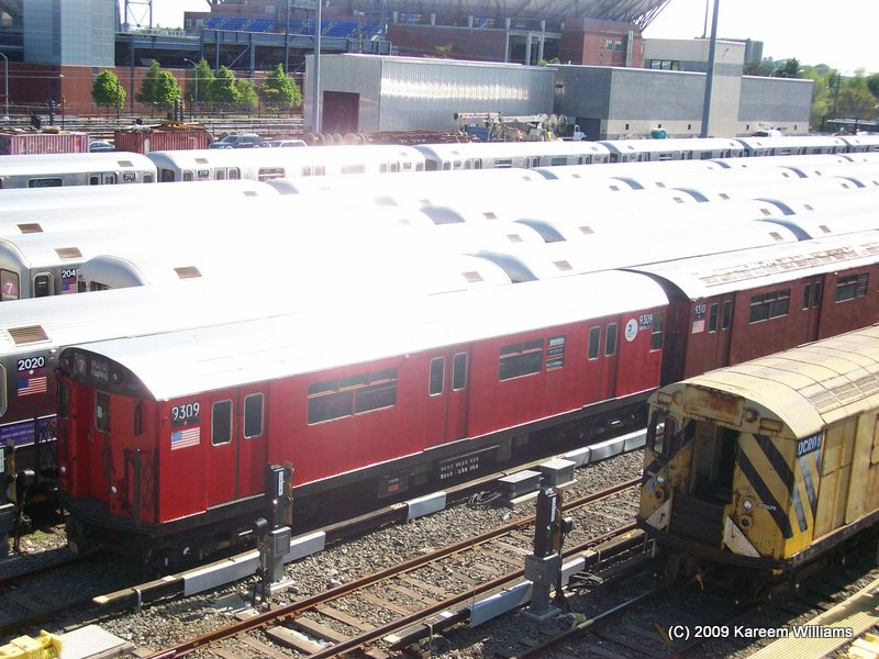 (130k, 800x600)<br><b>Country:</b> United States<br><b>City:</b> New York<br><b>System:</b> New York City Transit<br><b>Location:</b> Corona Yard<br><b>Car:</b> R-33 World's Fair (St. Louis, 1963-64) 9309 <br><b>Photo by:</b> Kareem Williams<br><b>Date:</b> 5/13/2009<br><b>Viewed (this week/total):</b> 2 / 620