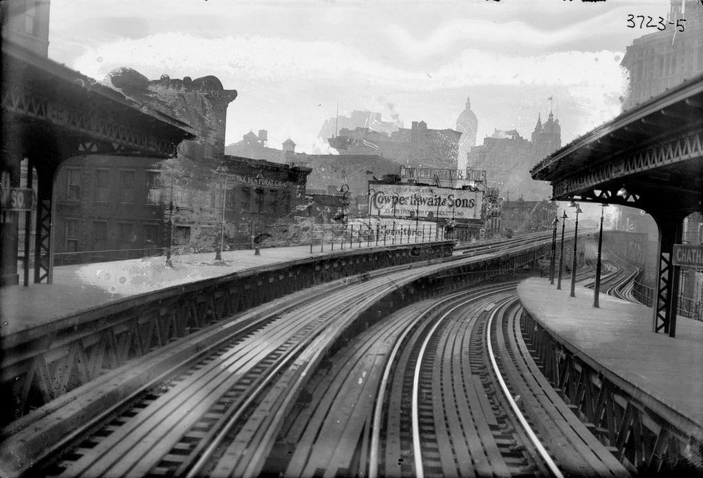 (270k, 1024x697)<br><b>Country:</b> United States<br><b>City:</b> New York<br><b>System:</b> New York City Transit<br><b>Line:</b> 3rd Avenue El<br><b>Location:</b> Chatham Square <br><b>Collection of:</b> Frank Pfuhler<br><b>Date:</b> 1910<br><b>Viewed (this week/total):</b> 1 / 419