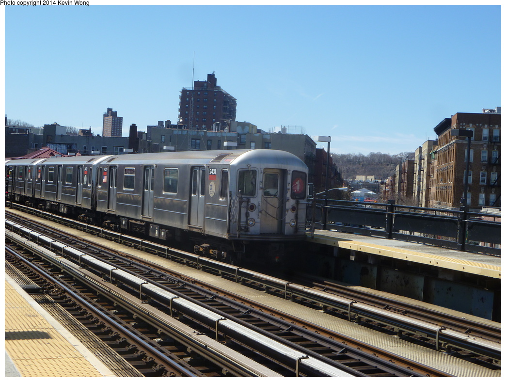 (374k, 1044x788)<br><b>Country:</b> United States<br><b>City:</b> New York<br><b>System:</b> New York City Transit<br><b>Line:</b> IRT West Side Line<br><b>Location:</b> 207th Street <br><b>Route:</b> 1<br><b>Car:</b> R-62A (Bombardier, 1984-1987)  2431 <br><b>Photo by:</b> Kevin Wong<br><b>Date:</b> 4/1/2014<br><b>Viewed (this week/total):</b> 7 / 613