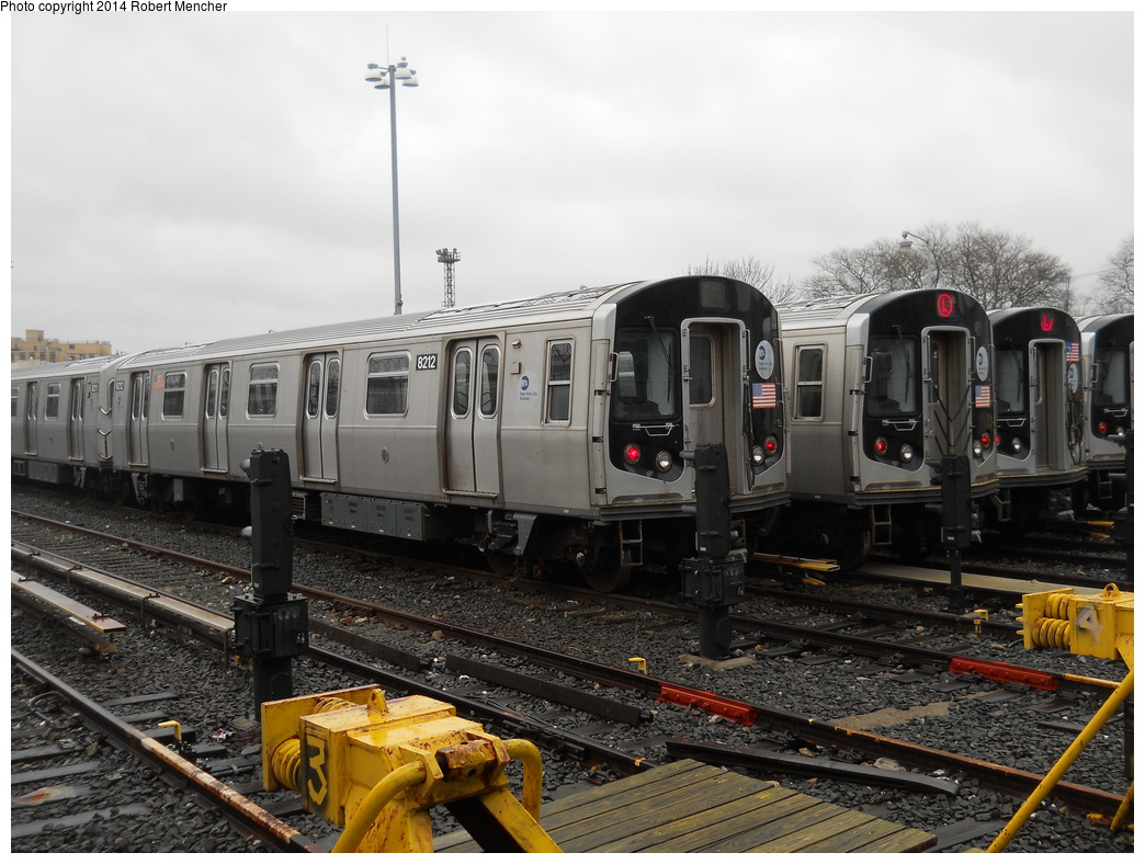 (363k, 1044x788)<br><b>Country:</b> United States<br><b>City:</b> New York<br><b>System:</b> New York City Transit<br><b>Location:</b> Rockaway Parkway (Canarsie) Yard<br><b>Car:</b> R-143 (Kawasaki, 2001-2002) 8212 <br><b>Photo by:</b> Robert Mencher<br><b>Date:</b> 4/4/2014<br><b>Viewed (this week/total):</b> 3 / 170