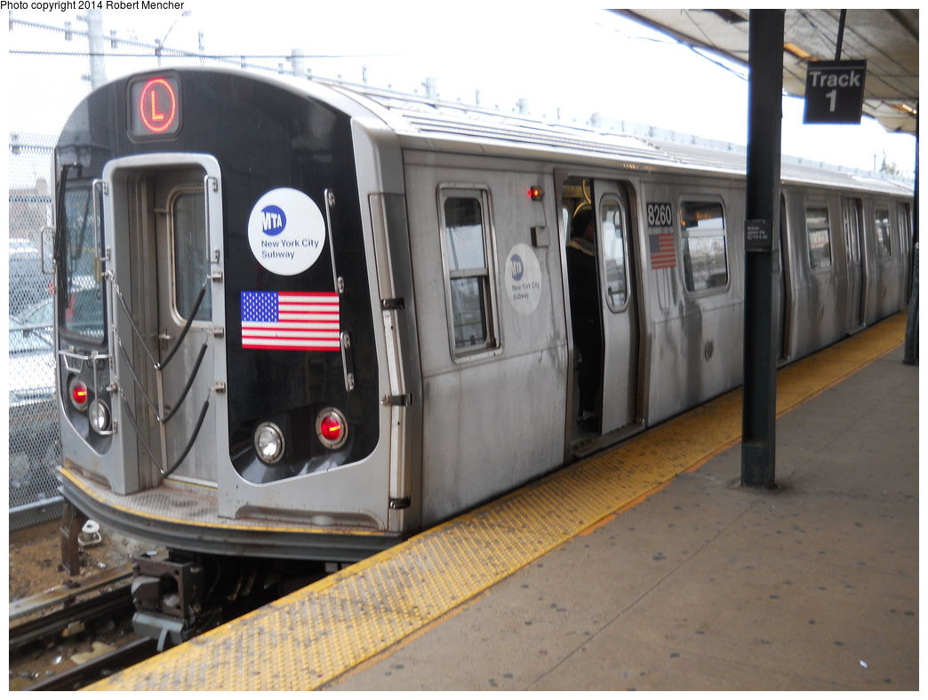 (332k, 1044x788)<br><b>Country:</b> United States<br><b>City:</b> New York<br><b>System:</b> New York City Transit<br><b>Line:</b> BMT Canarsie Line<br><b>Location:</b> Rockaway Parkway <br><b>Route:</b> L<br><b>Car:</b> R-143 (Kawasaki, 2001-2002) 8260 <br><b>Photo by:</b> Robert Mencher<br><b>Date:</b> 4/4/2014<br><b>Viewed (this week/total):</b> 3 / 414