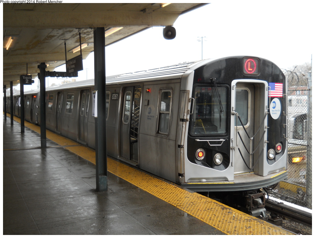 (342k, 1044x788)<br><b>Country:</b> United States<br><b>City:</b> New York<br><b>System:</b> New York City Transit<br><b>Line:</b> BMT Canarsie Line<br><b>Location:</b> Rockaway Parkway <br><b>Route:</b> L<br><b>Car:</b> R-160A-1 (Alstom, 2005-2008, 4 car sets)  8361 <br><b>Photo by:</b> Robert Mencher<br><b>Date:</b> 4/4/2014<br><b>Viewed (this week/total):</b> 0 / 145