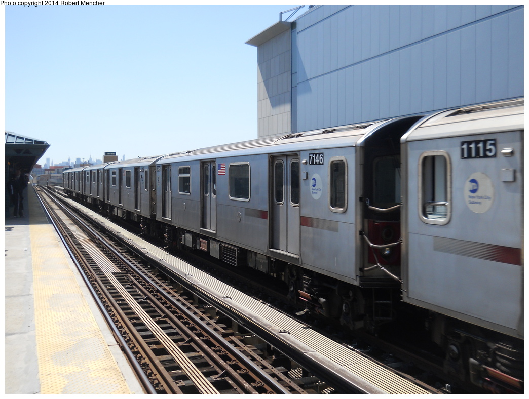 (342k, 1044x788)<br><b>Country:</b> United States<br><b>City:</b> New York<br><b>System:</b> New York City Transit<br><b>Line:</b> IRT Woodlawn Line<br><b>Location:</b> 161st Street/River Avenue (Yankee Stadium) <br><b>Route:</b> 4<br><b>Car:</b> R-142 (Option Order, Bombardier, 2002-2003)  7146 <br><b>Photo by:</b> Robert Mencher<br><b>Date:</b> 4/10/2014<br><b>Viewed (this week/total):</b> 0 / 453