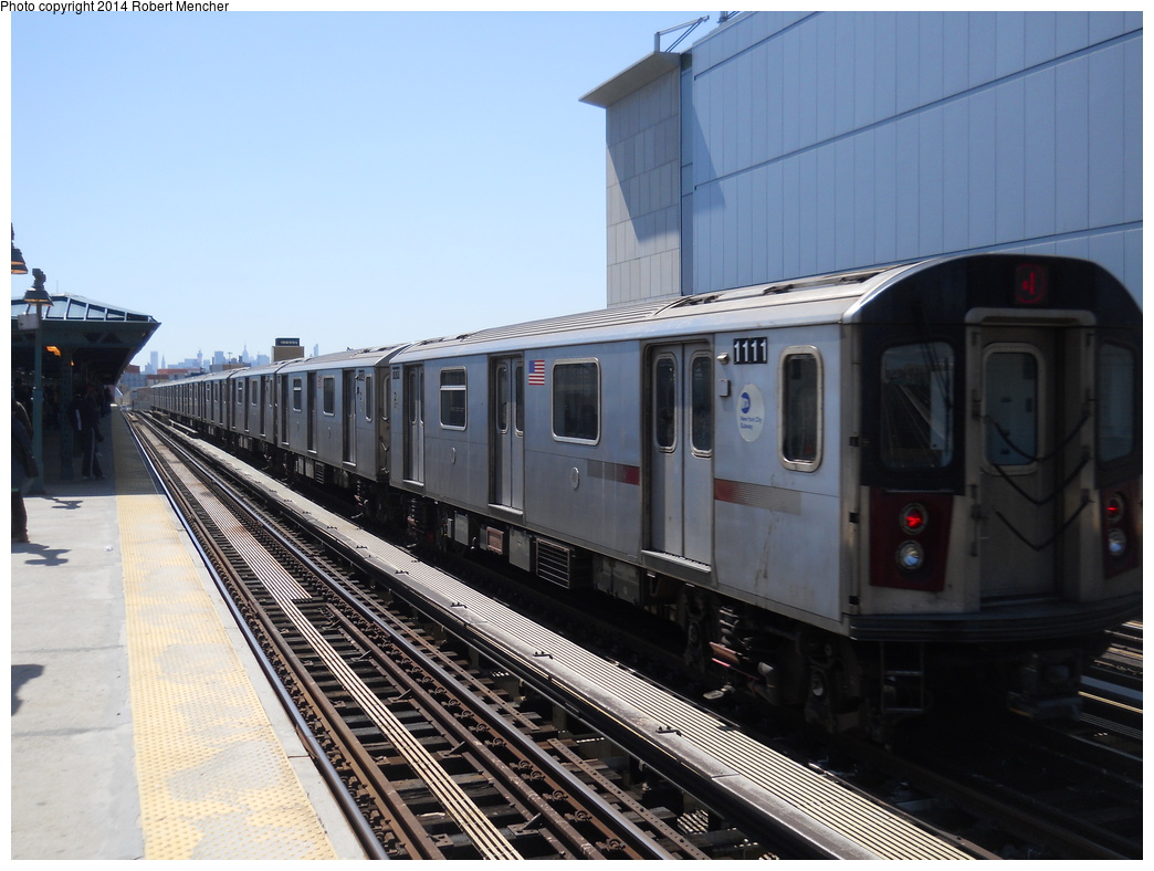 (337k, 1044x788)<br><b>Country:</b> United States<br><b>City:</b> New York<br><b>System:</b> New York City Transit<br><b>Line:</b> IRT Woodlawn Line<br><b>Location:</b> 161st Street/River Avenue (Yankee Stadium) <br><b>Route:</b> 4<br><b>Car:</b> R-142 (Option Order, Bombardier, 2002-2003)  1111 <br><b>Photo by:</b> Robert Mencher<br><b>Date:</b> 4/10/2014<br><b>Viewed (this week/total):</b> 1 / 688