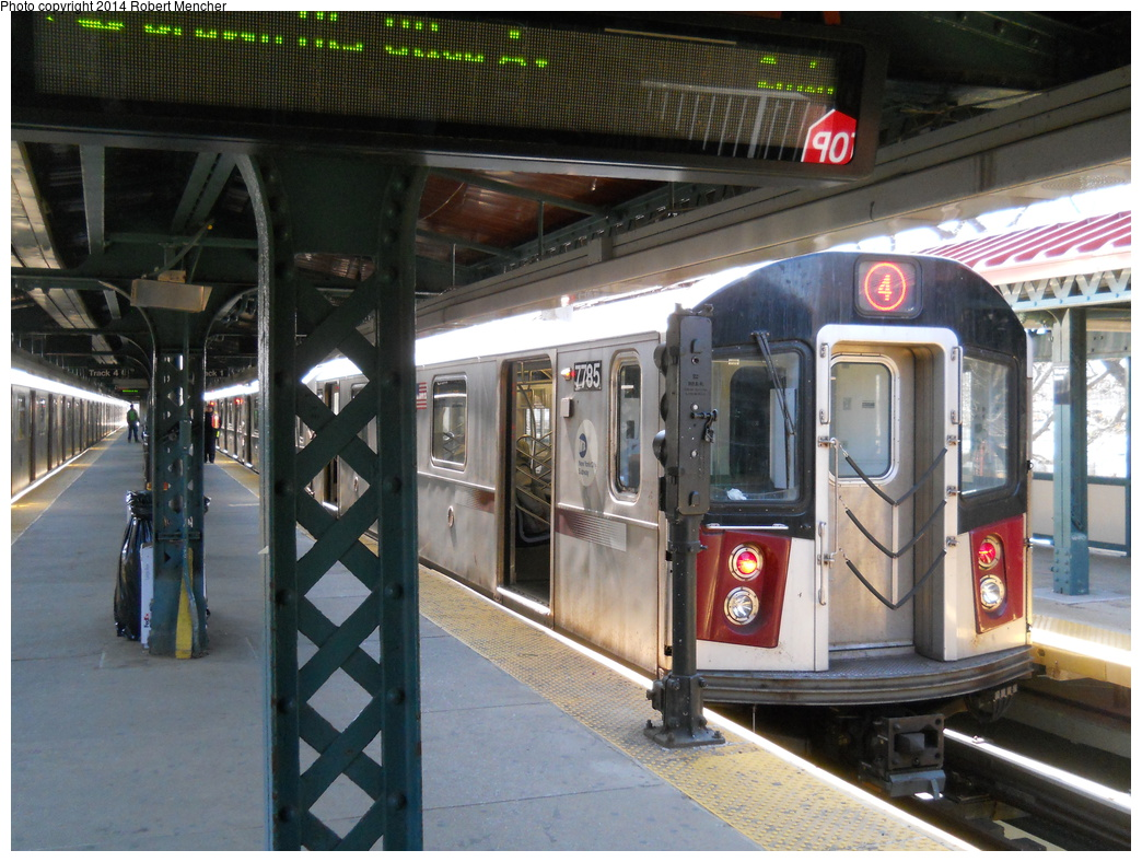 (401k, 1044x788)<br><b>Country:</b> United States<br><b>City:</b> New York<br><b>System:</b> New York City Transit<br><b>Line:</b> IRT Woodlawn Line<br><b>Location:</b> Woodlawn <br><b>Route:</b> 4<br><b>Car:</b> R-142A (Supplemental Order, Kawasaki, 2003-2004)  7785 <br><b>Photo by:</b> Robert Mencher<br><b>Date:</b> 4/10/2014<br><b>Viewed (this week/total):</b> 4 / 901